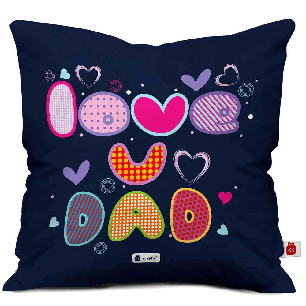 Love You Dad Quote Blue Cushion Cover
