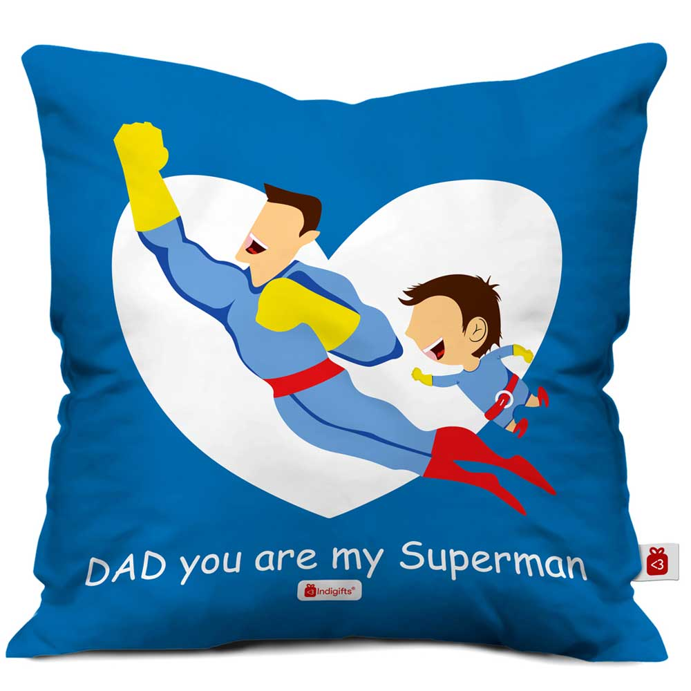 Indigifts Superman Dad Quote Blue Cushion Cover