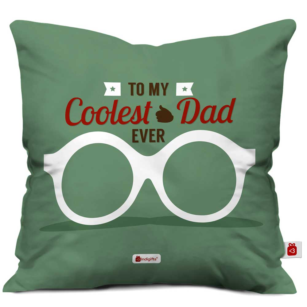 Coolest Dad Ever Quote Dad's Glasses Green Cushion Cover