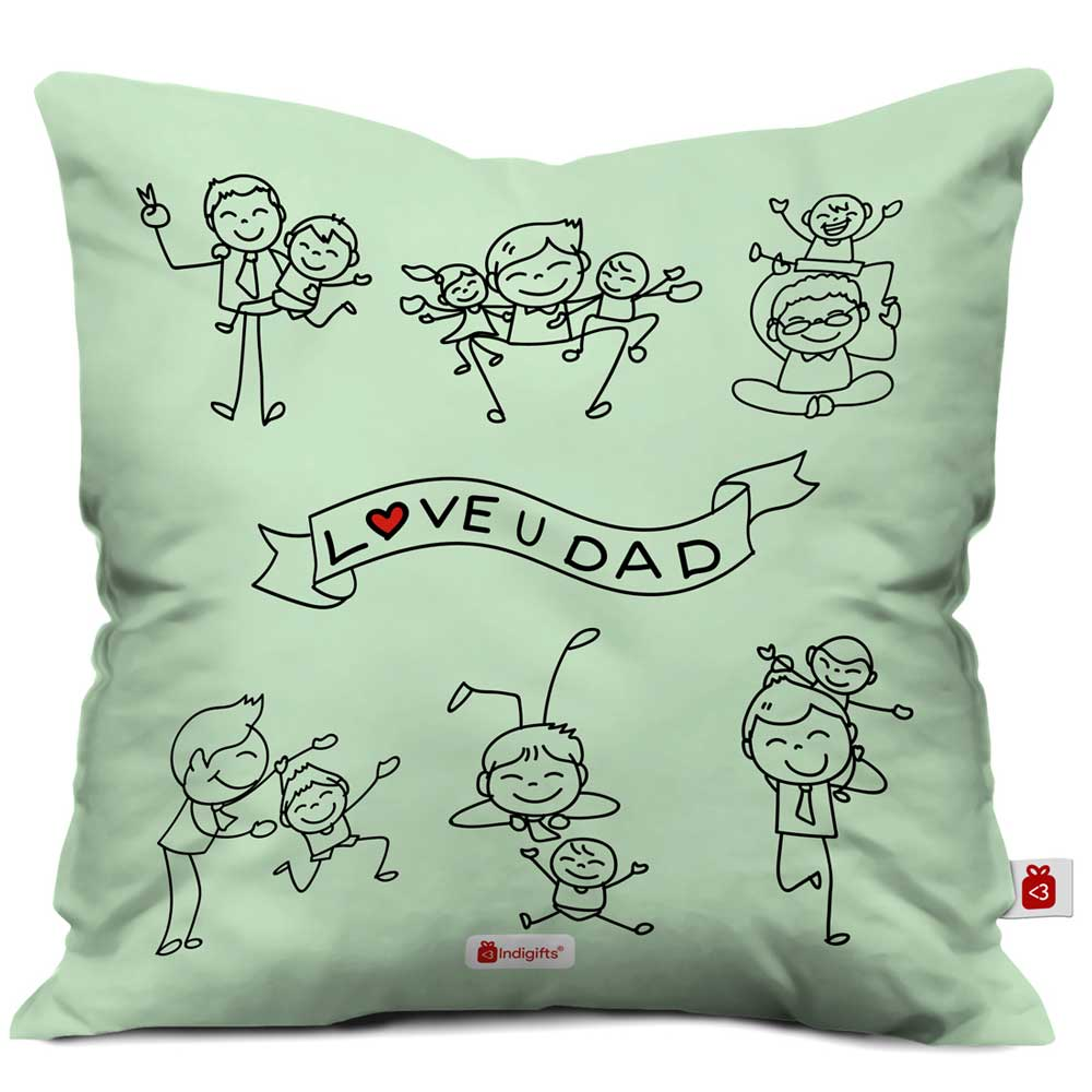 Love You Dad Quote Children Fun Time With Father Green Cushion Cover