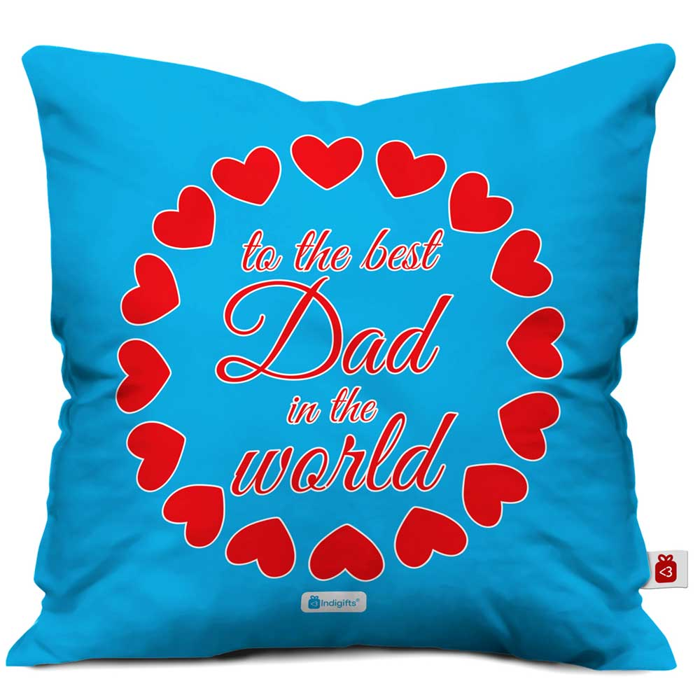 Indigifts To the Best Dad Quote Blue Cushion Cover
