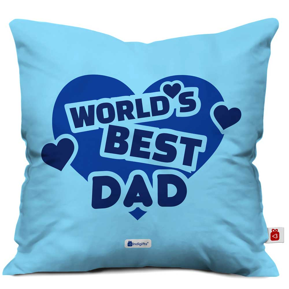World's Best Dad Quote Heart Shape Blue Cushion Cover