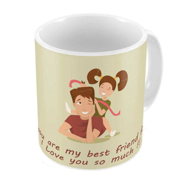 Love You Dad Quote Daughter Playing with Dad White Coffee Mug