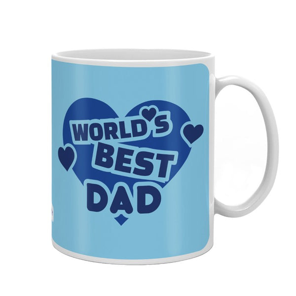 World's Best Dad Quote Heart Shape Blue Coffee Mug