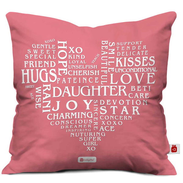Daughter Love Pink Cushion Cover