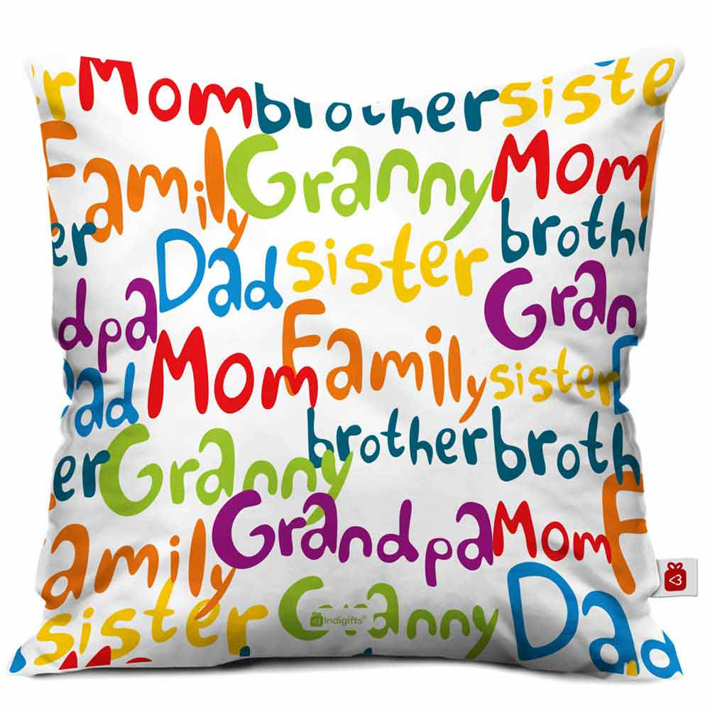 Indigifts Family Love White Cushion Cover
