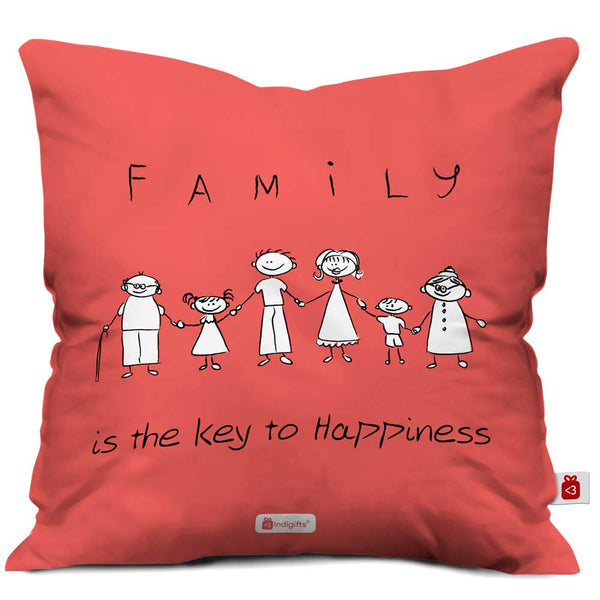 Family Key to Happiness Light Red Cushion Cover