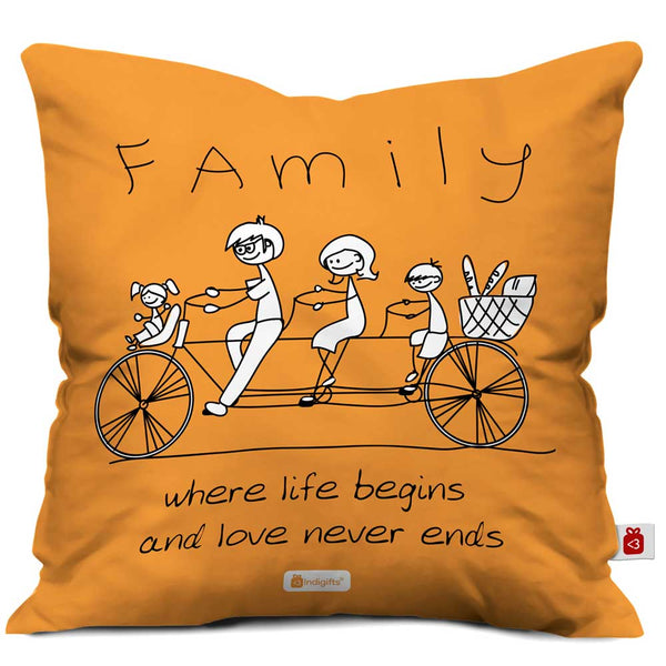 Family Love Never Ends Orange Cushion Cover