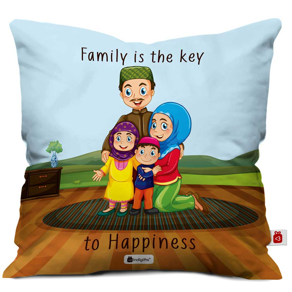 Family is key to Happiness Blue Cushion Cover