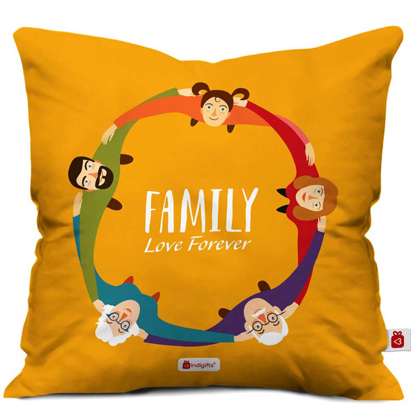 Family Love Forever Yellow Cushion Cover