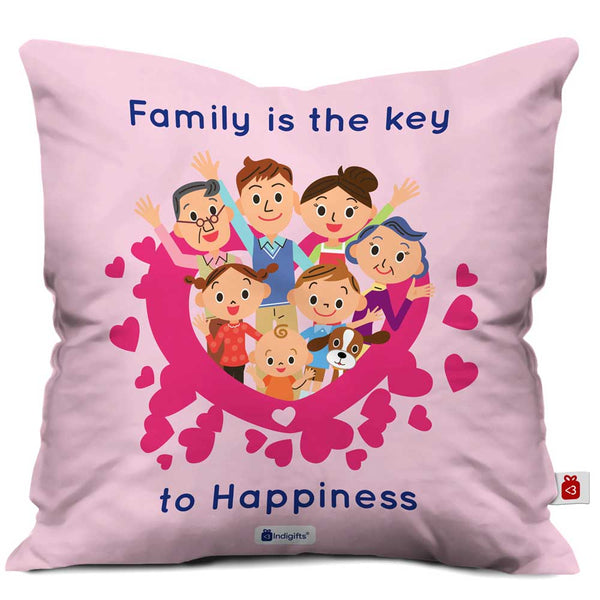 Key to Happiness Pink Cushion Cover