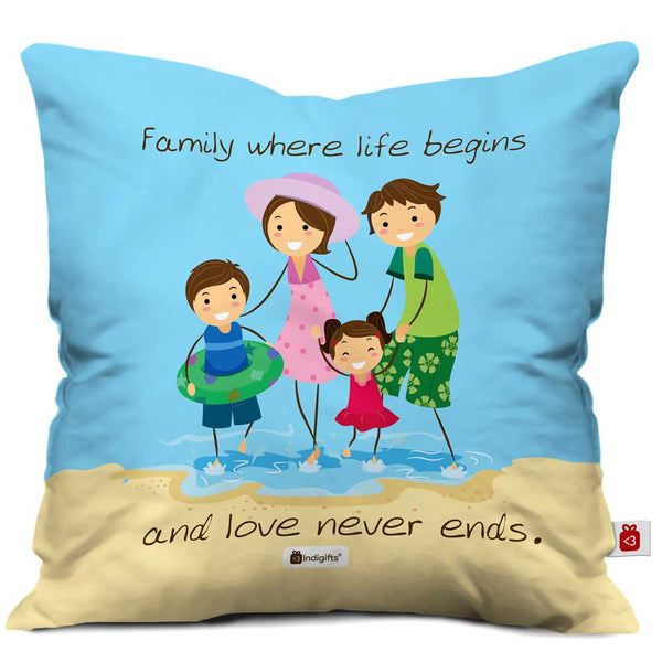 Life Begins Love Never Ends Blue Cushion Cover