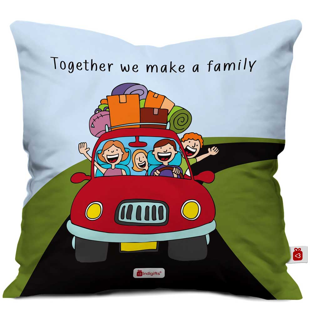Indigifts Together We Make Family Blue Green Cushion Cover