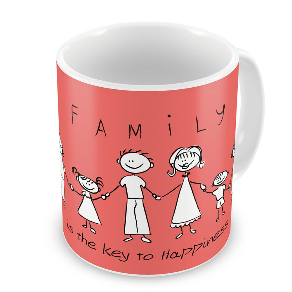 Indigifts Family Key to Happiness Light Red Coffee Mug