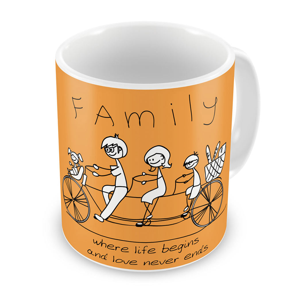 Indigifts Family Love Never Ends Orange Coffee Mug