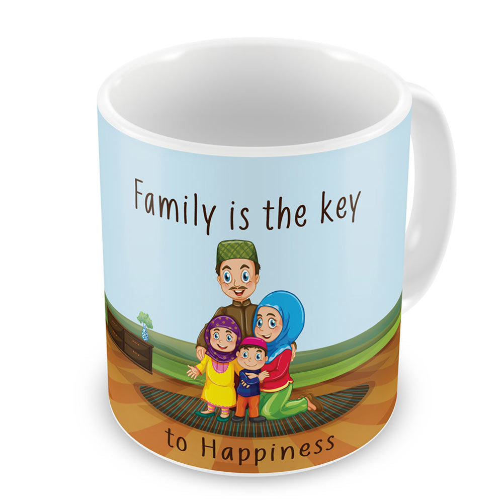 Family is key to Happiness Blue Coffee Mug