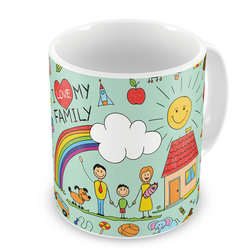 I Love Family Blue Coffee Mug
