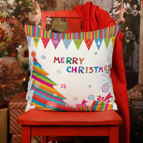 Colorful Strip Pattern Christmas Tree And Presents Cushion