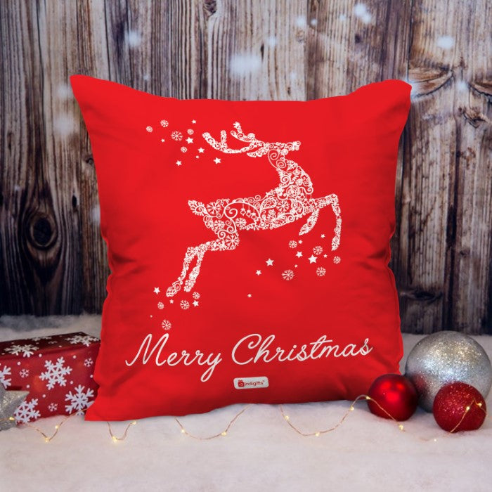 Indigifts Jumping Reindeer Composed of Floral Artwork   Cushion