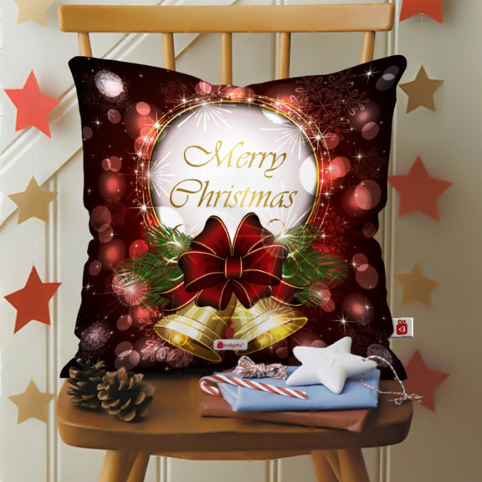 Indigifts Illustration Of Jingle Bells with Bow In A Shiny Bubble Background  Cushion