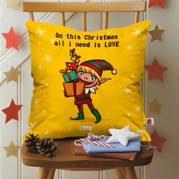 Indigifts Illustration Of A Cheerful Christmas Elf holding Gifts Cushion