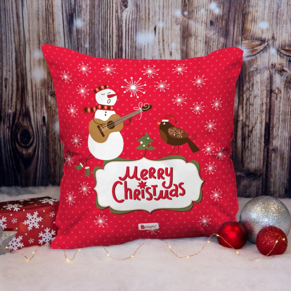 Celebration Of Festival With Snowman's Musical Performance Cushion
