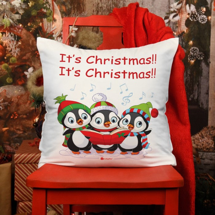 Indigifts Trio Of Cute Baby Penguins Singing Christmas Carol All Together Cushion
