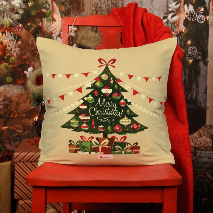 Indigifts Decorated Xmas Tree with Ornaments and Gifts underneath Cushion