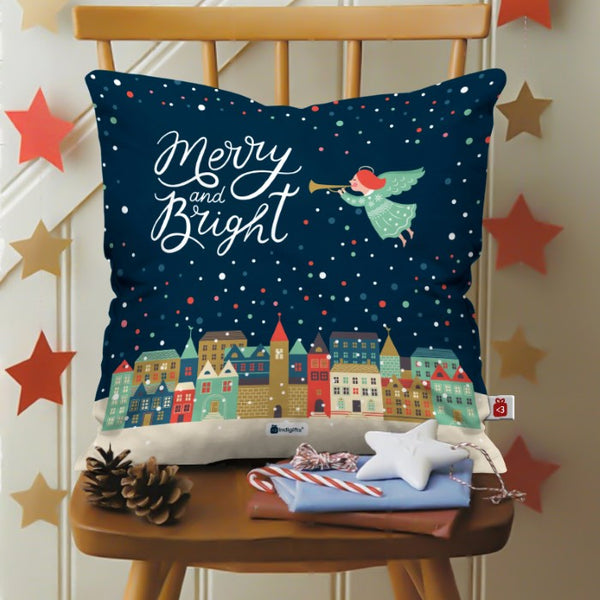 Indigifts Christmas Angel with Trumpet Signifying The Beginning of Festival Season Cushion