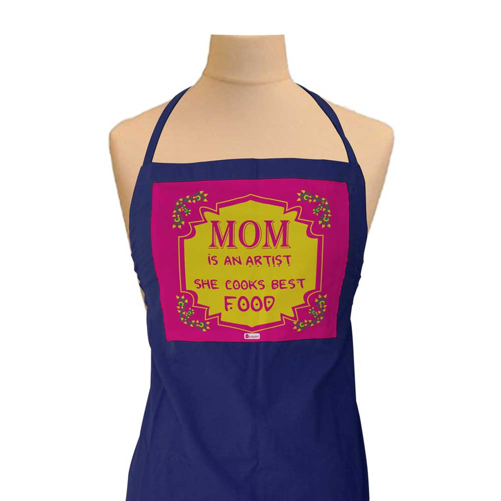 Indigifts Gift for Mom - Decorative Floral Retro Print Blue Apron