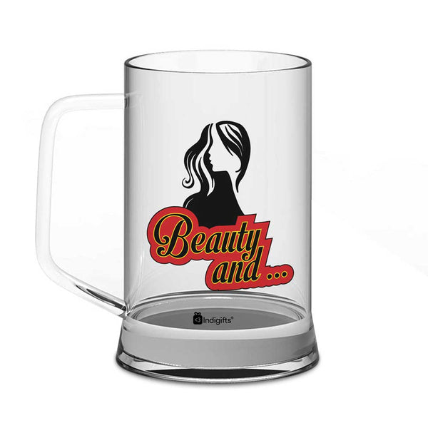 Beauty Quote Beautiful Side Face Illustration Clear Glass Beer Mug 325 ml