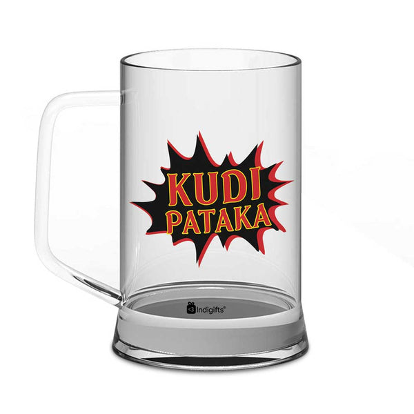 Kudi Pataka Quote Popart Blast Cloud Form Clear Glass Beer Mug 325 ml