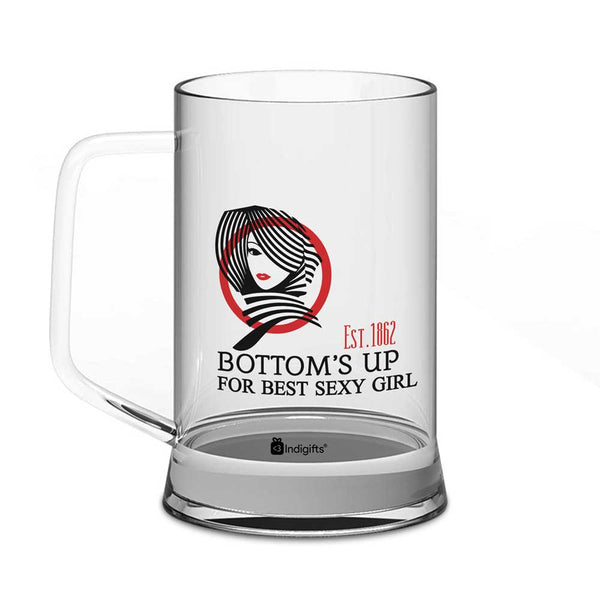 Bottom's Up For Best Sexy Girl Quote Sexy Girl's Face Illustration Clear Glass Beer Mug 325 ml