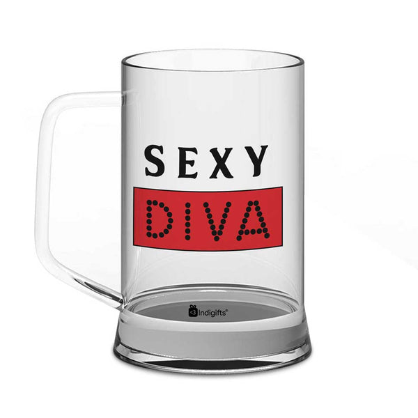 Sexy Diva Quote Clear Glass Beer Mug 325 ml