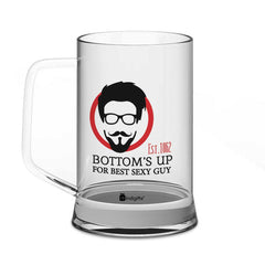 Bottom's Up For Best Sexy Girl and Best Sexy Guy Quote Clear Glass Beer Mug 330 ml Set of 2