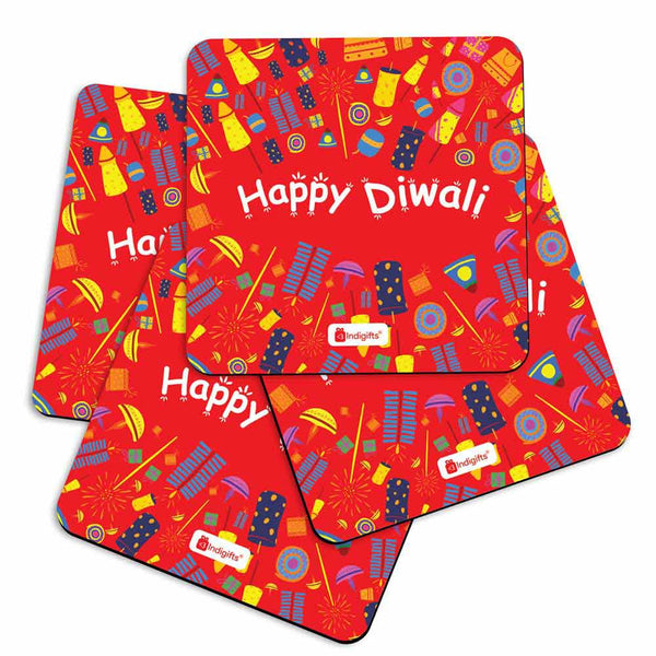 Seamless Pattern of Colourful Fire Crackers Red Coasters