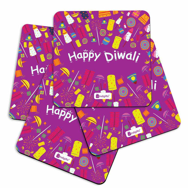 Seamless Pattern of Colourful Fire Crackers purple Coasters