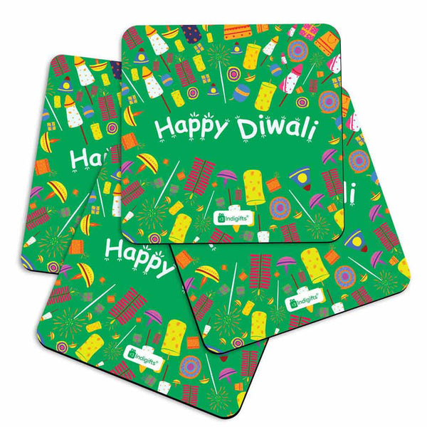 Seamless Pattern of Colourful Fire Crackers Green Coasters