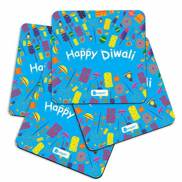 Seamless Pattern of Colourful Fire Crackers Blue Coasters