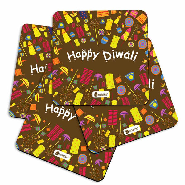 Seamless Pattern of Colourful Fire Crackers Brown Coasters