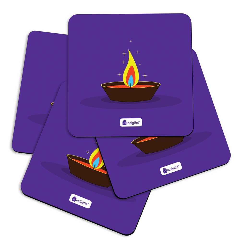 Illustration of Burning Oil Clay Diya Lamp Blue Coasters