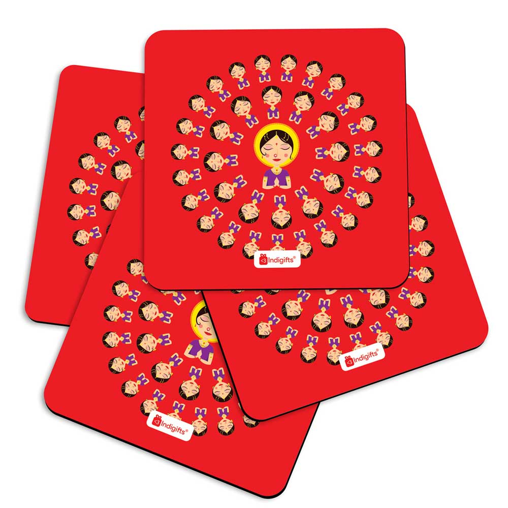 Indigifts Traditional Indian Woman Hand Greeting Posture of Namaste in Circular Pattern Red Coasters
