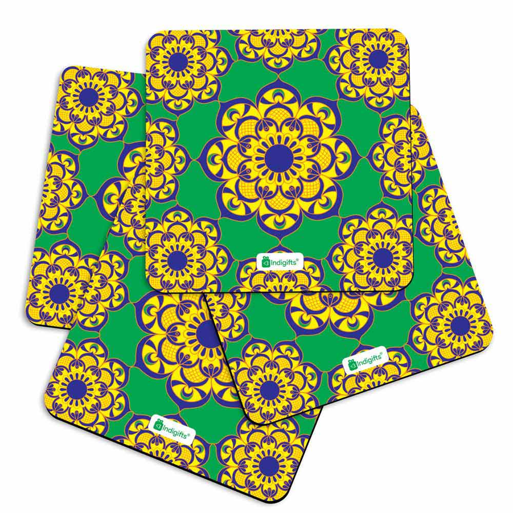 Boho Hippie Floral Mandala in Doodle Style Green Coasters - Indigifts - With Love