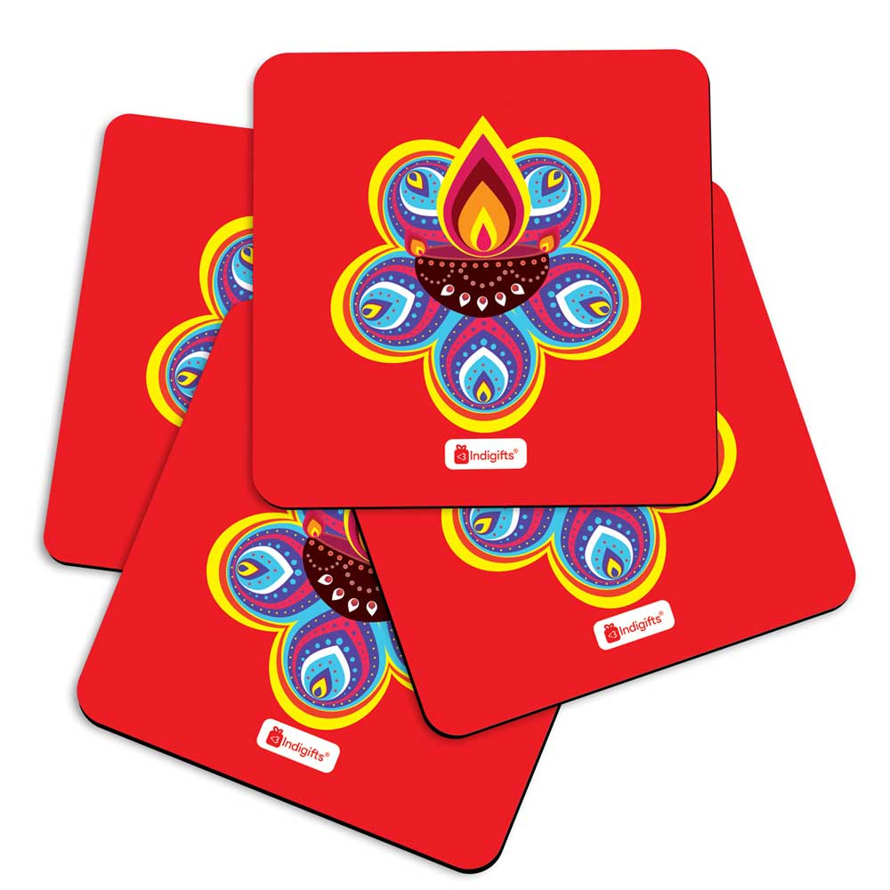 Indigifts Traditional Ornate Flower Pattern Rangoli with Illuminated Diya Design Red Coasters
