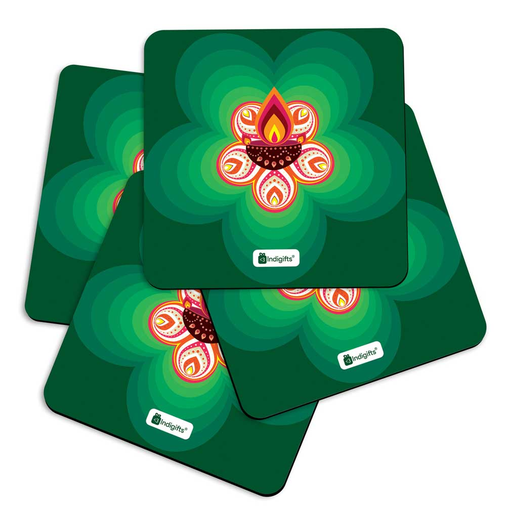 Indigifts Illuminated Traditional Diya Rangoli with Blur Flower Background Green Coasters