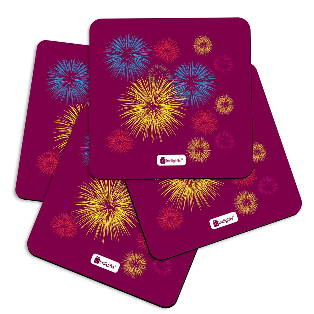 Illustration of Festive Firework Bursting in Different Colors Pink Coasters