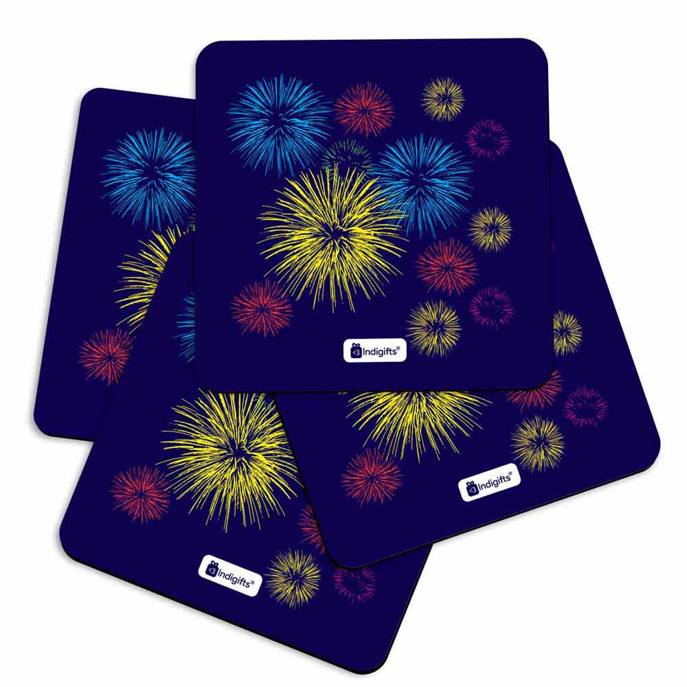 Indigifts Fire Cracker Print Blue Coasters