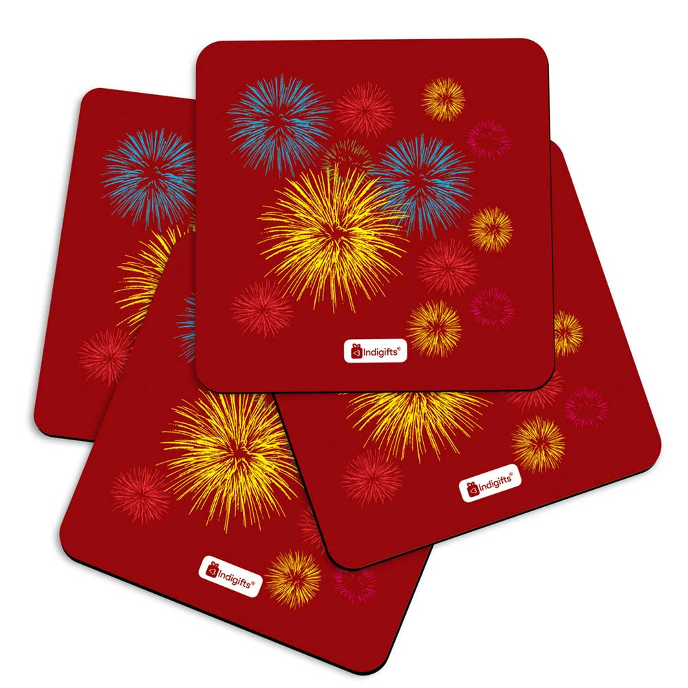 Indigifts Fire Cracker Print Brown Coasters