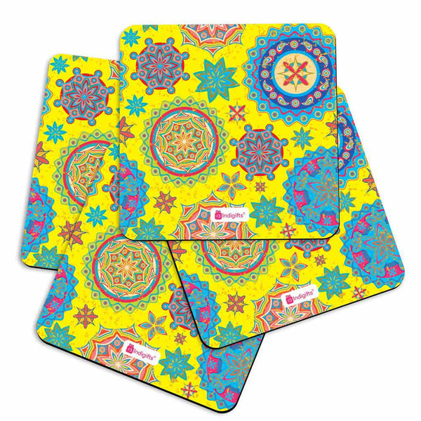 Indigifts Colorful Ethnic Rangoli with Mandala Oriental Print Yellow Coasters