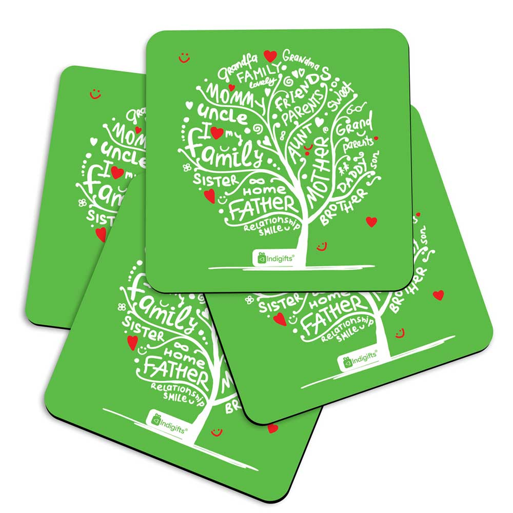 Illustration of Family Love Tree Design Green Coasters